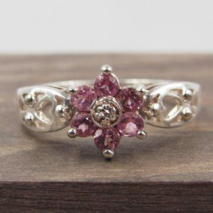 Size 7.25 Sterling Floral Pink Tourmaline Ring